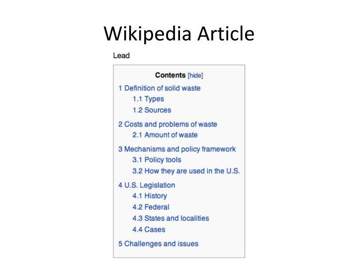 Wikipedia Article