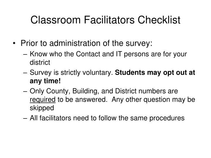 Classroom facilitators checklist