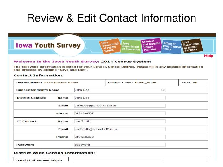 Review & Edit Contact Information
