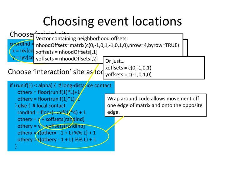 Choosing event locations