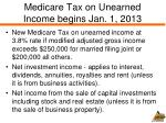 medicare tax on unearned income begins jan 1 2013