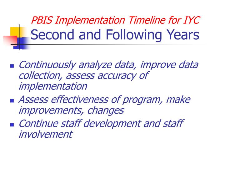 PBIS Implementation Timeline for IYC