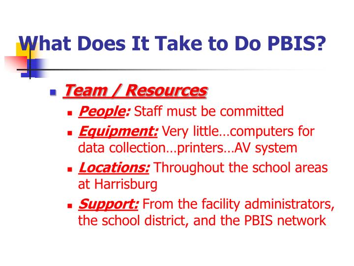 What Does It Take to Do PBIS?