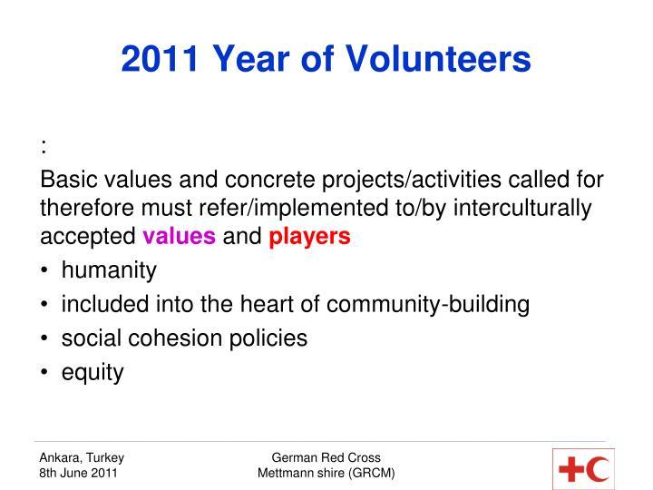 2011 Year of Volunteers
