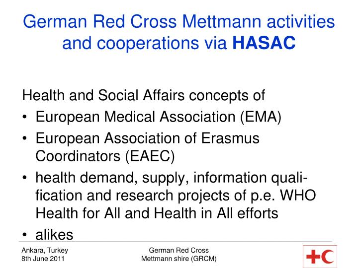 German Red Cross Mettmann activities and cooperations via