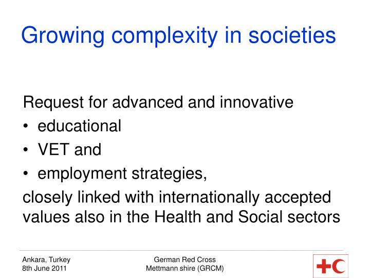 Growing complexity in societies