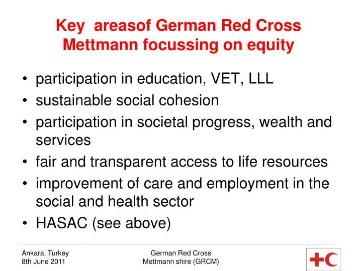 Key  areasof German Red Cross Mettmann focussing on equity