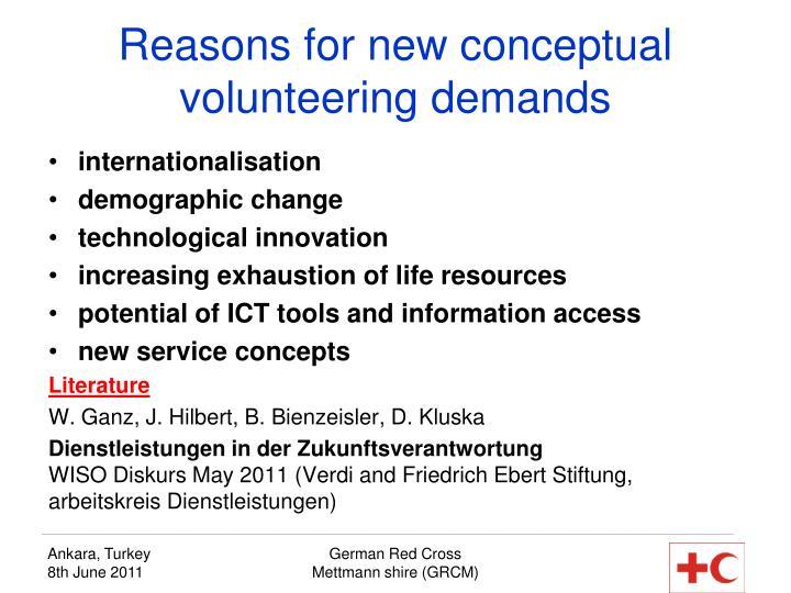 Reasons for new conceptual volunteering demands
