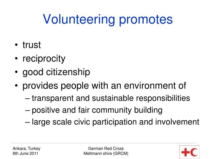 Volunteering promotes