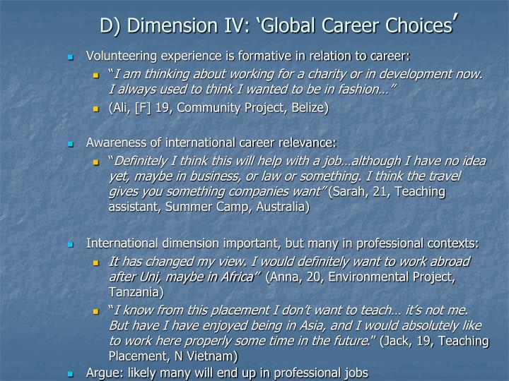 D) Dimension IV: 'Global Career Choices