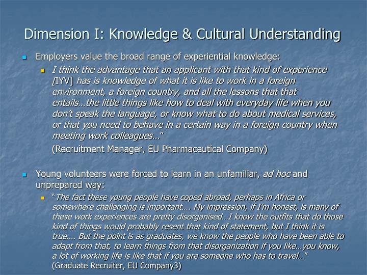 Dimension I: Knowledge & Cultural Understanding