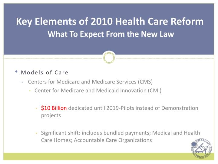 Key Elements of 2010 Health Care Reform