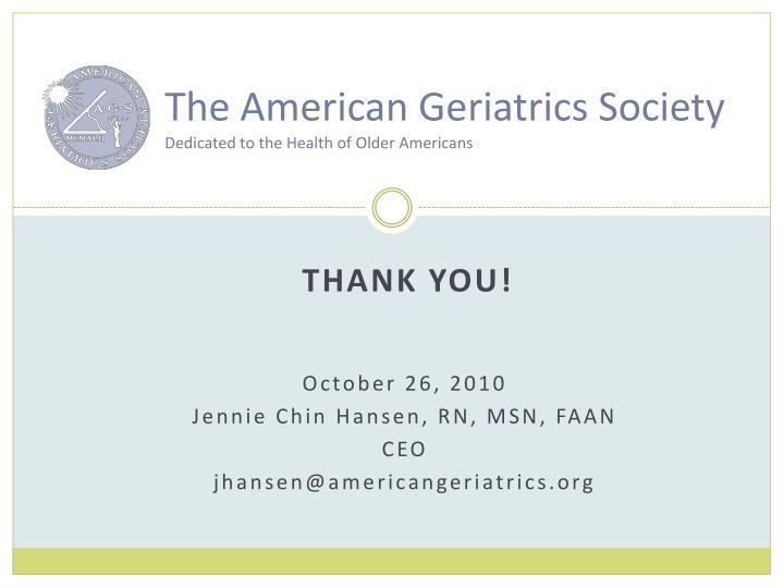 The American Geriatrics Society