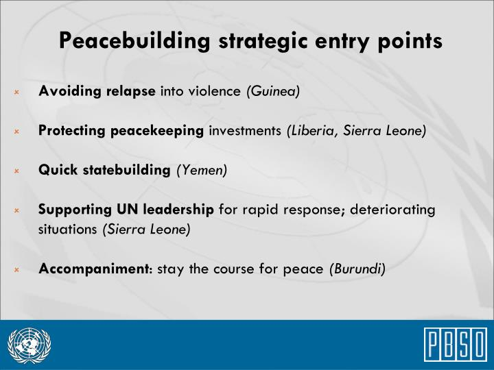 Peacebuilding strategic entry points