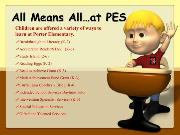 All Means All…at PES