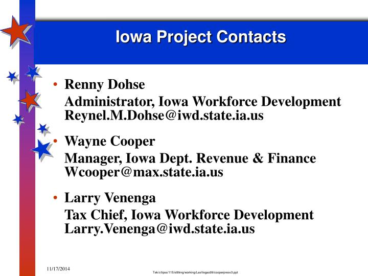 Iowa Project Contacts