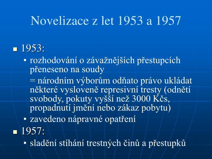 Novelizace zlet 1953 a 1957