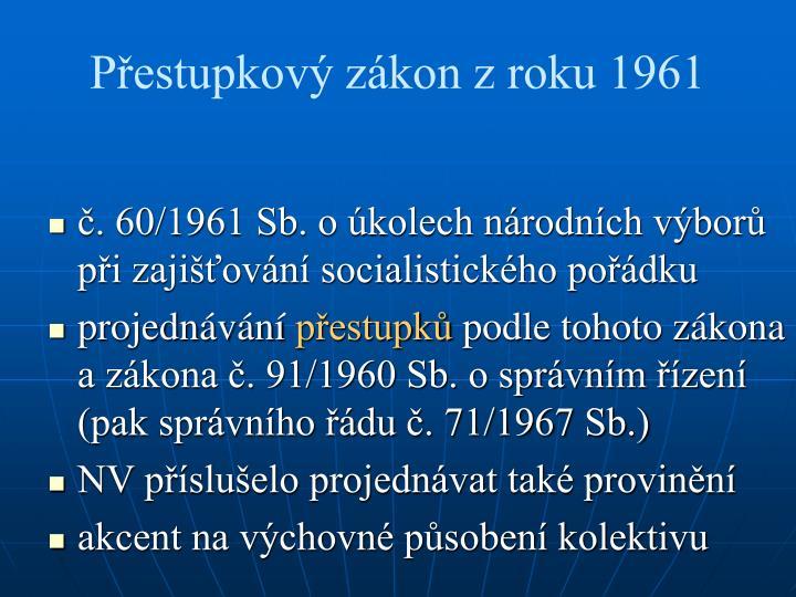 Přestupkový zákon z roku 1961