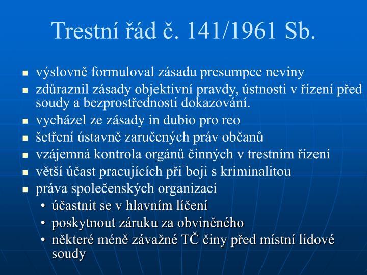 Trestní řád č. 141/1961 Sb.