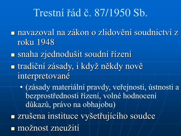 Trestní řád č. 87/1950 Sb.