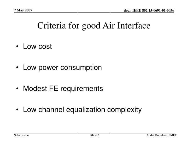 Criteria for good air interface
