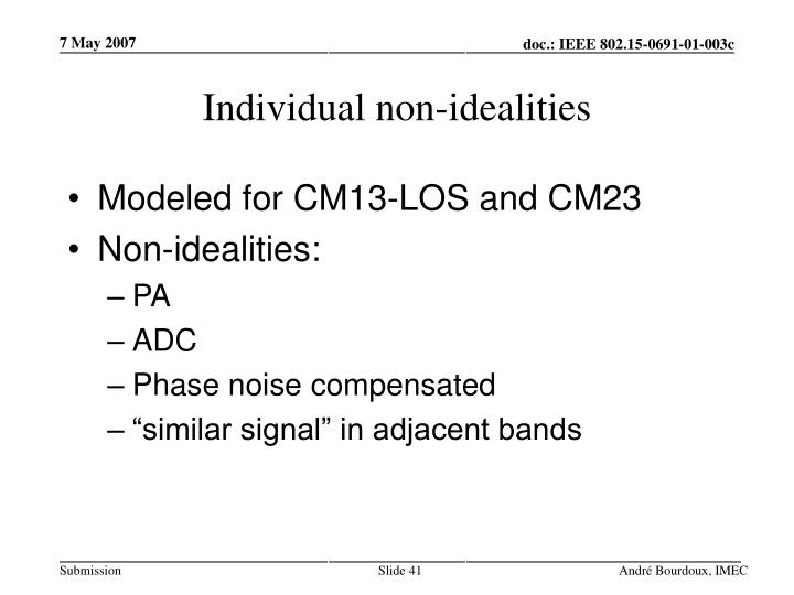 Individual non-idealities