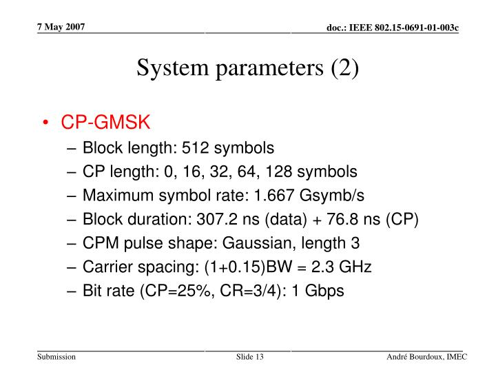 System parameters (2)