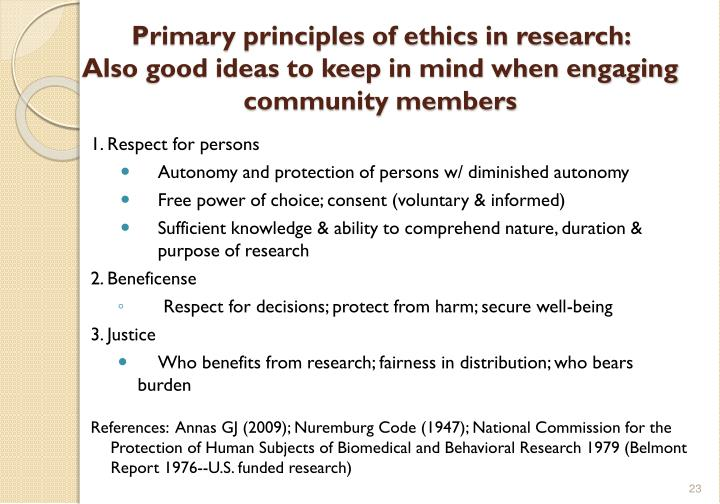 Primary principles of ethics in research: