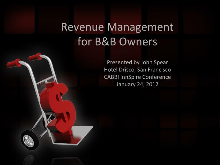 revenue management for b b owners n.