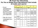 we track your advertising for you on simple excel spreadsheets that include all media each quarter