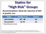 statins for high risk groups