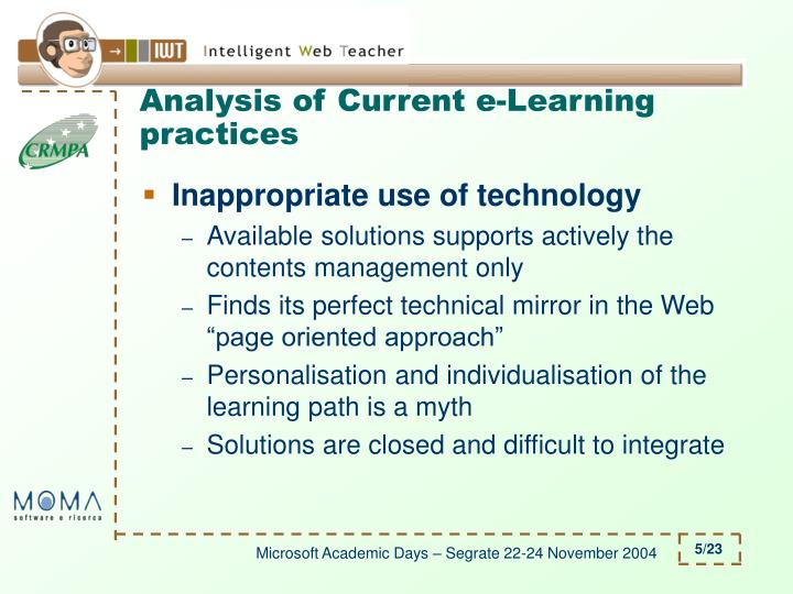 Analysis of Current e-Learning practices