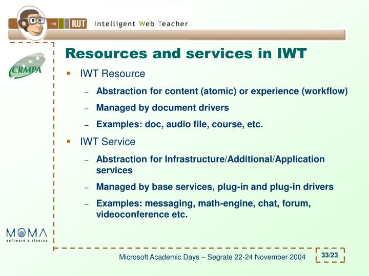 Resources and services in IWT