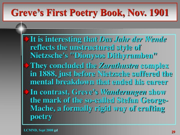Greve's First Poetry Book, Nov. 1901