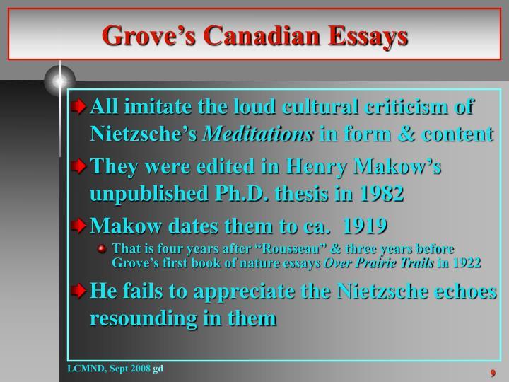 Grove's Canadian Essays