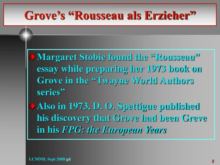 "Grove's ""Rousseau als Erzieher"""
