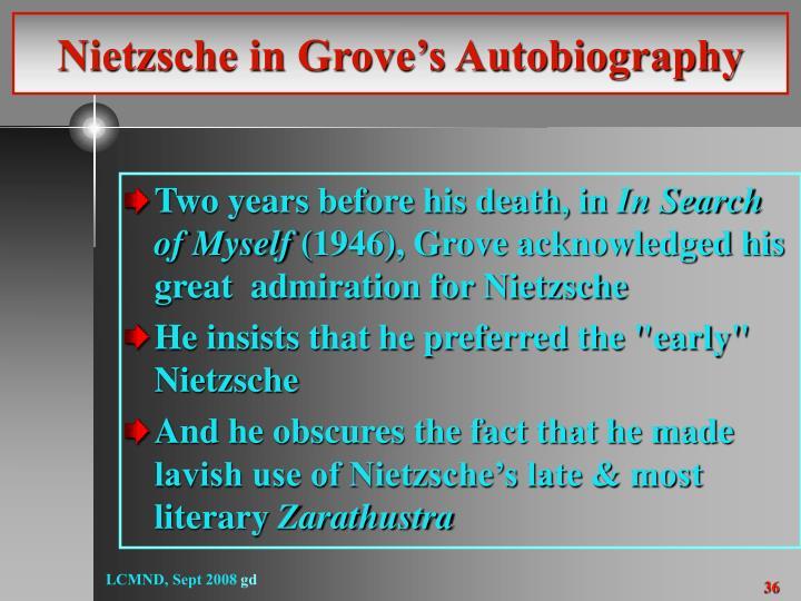 Nietzsche in Grove's Autobiography