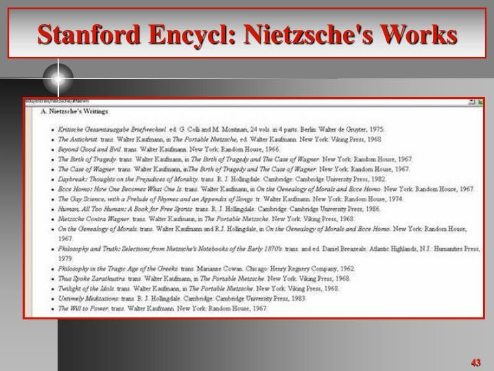 Stanford Encycl: Nietzsche's Works