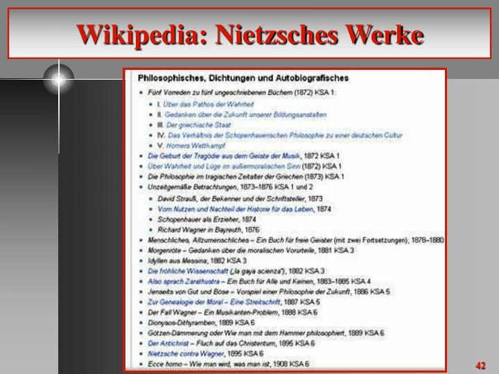 Wikipedia: Nietzsches Werke