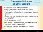 environmental influences on career decisions1