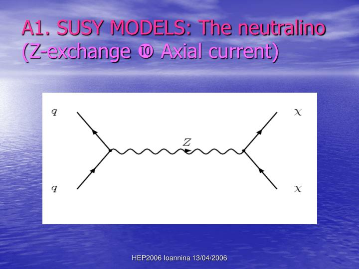 A1. SUSY MODELS: The neutralino