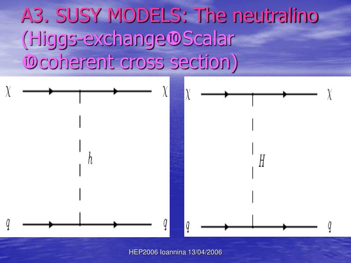 A3. SUSY MODELS: The neutralino