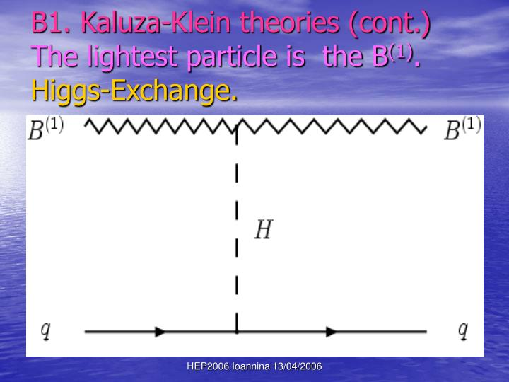 B1. Kaluza-Klein theories (cont.)