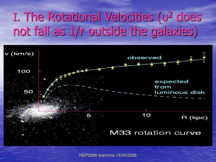 I the rotational velocities 2 does not fall as 1 r outside the galaxies