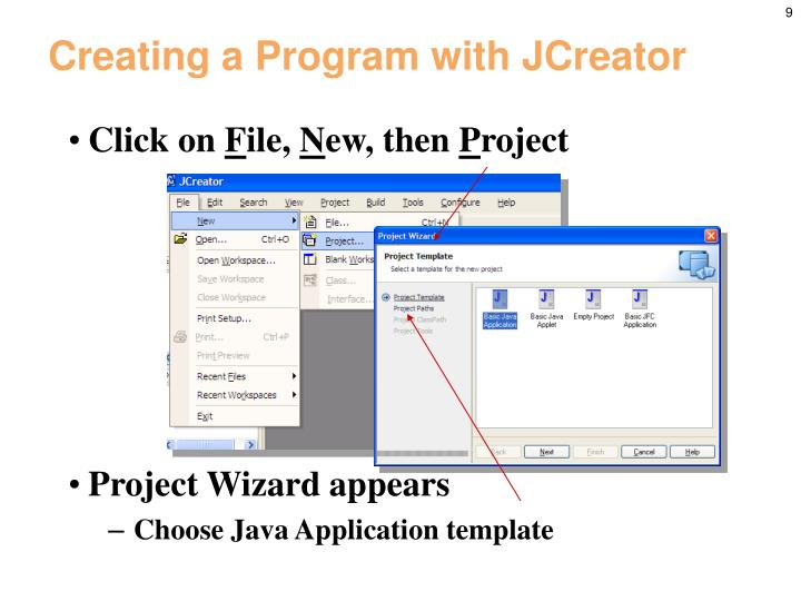 Creating a Program with JCreator