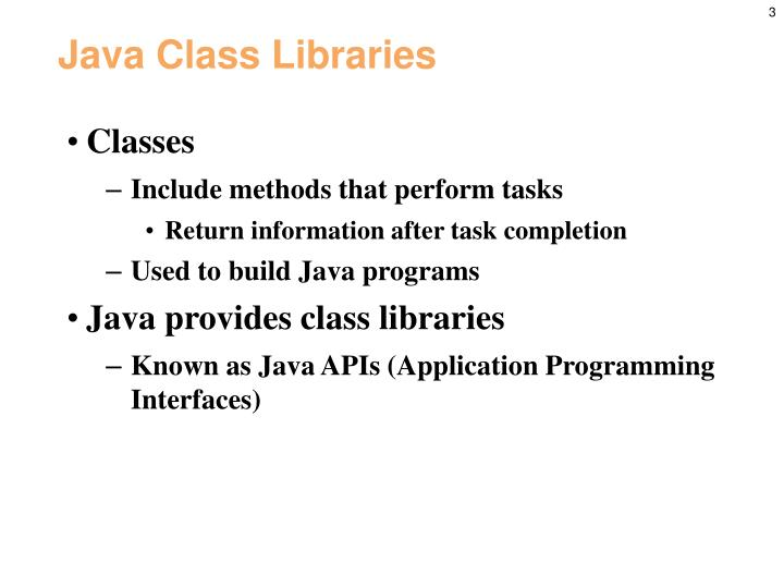 Java class libraries