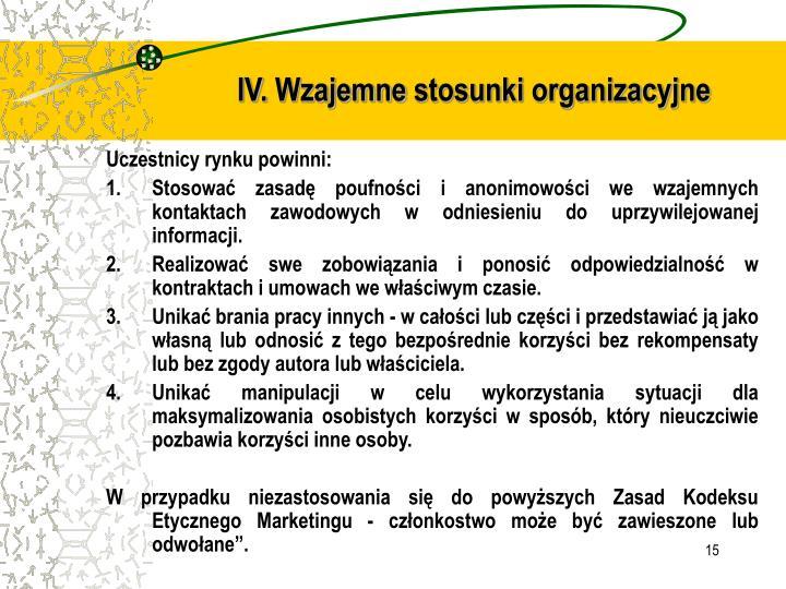 IV. Wzajemne stosunki organizacyjne