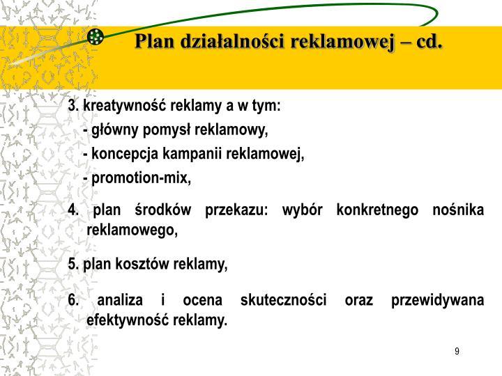 Plan działalności reklamowej – cd.