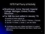 1978 fall flurry of activity