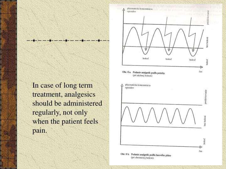 In case of long term treatment, analgesics should be administered regularly, not only when the patient feels pain.